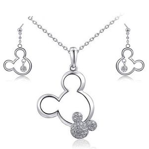 Silver Mickey Mouse Crystal Necklace & Earring Set